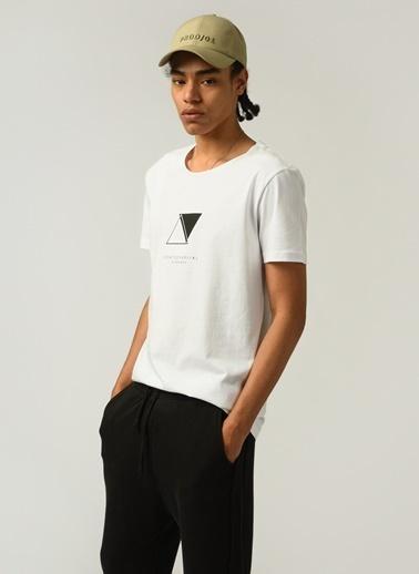 People By Fabrika Erkek Baskılı  Tişört PFESS21TS0025 Beyaz